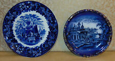 vintage retro two blue and white decorative plates one wedgewood