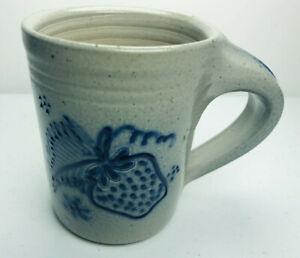 Eldreth Pottery Salt Glaze Mug Blue Strawberry USA Made 1992 Studio Penn Dutch