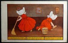 Postcard SUNBONNET TWINS Girls FRIDAY MORN We Take a Broom Ullman 1907