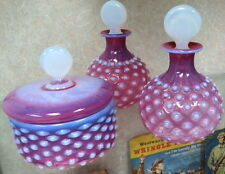 RARE CZECH cranberry opalescent dresser set perfumes & powder hobnail clamsbroth