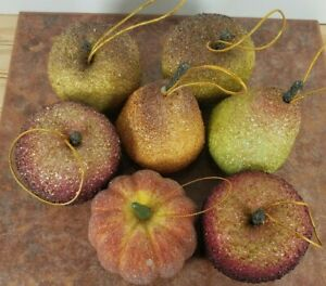 7 Piece Beaded Frosted Fruit  Sugared Pears Apples Pumpkins Ornaments