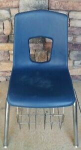"17"" Blue Hard Plastic School Student Homeschool Activity Chair w/ Book Rack"