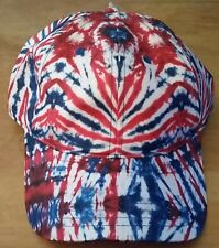 NWT Free Authority Tie Dye Red White Blue Adjustable Hat Cap