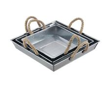 Durable Galvanized Metal Tray, Set of 3 Decorative Square Serving/Display Trays