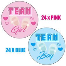 48 x Stickers BABY SHOWER GAMES Gender reveal party, 24x Team Girl 24x Boy 302