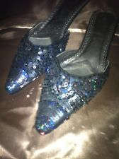 Stunning Ladies Evening Wedding Occasion Shoes Slip On Black Bling Beaded Size 8