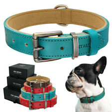 Adjustable Dog Collar Genuine Leather Small Large Soft Padded & Metal Buckle SML