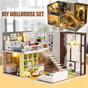 Kid Barbie LED Doll House Miniature DIY Furniture Dollhouse Light Gift Toy AU