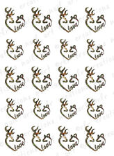 "20 Nail Decals *Deer Buck and Doe Heart Love"" Water Slides Nail Art Not Browning"