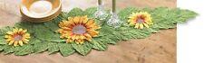 Sunny 3D Yellow Sunflower Flower Green Leaf Dinning Runner Kitchen Table Decor