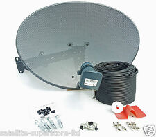 60cm Satellite Dish & Full 10m Twin Black Install Kit For Sky HD / Freesat HD
