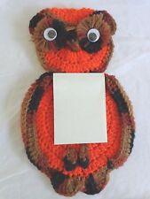 """CROCHET OWL Kitchen Note Pad Holder 12"""" Orange Brown Handmade Vintage Retro"""