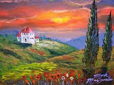Tuscany Sunset Oil Painting.Palette knife art, Wide Ornate Gold Frame.8x10  MAZZ