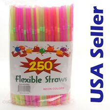 250 ct PARTY Drinking STRAWS Bendable Flexible Plastic Bendy Straw Neon Color H1