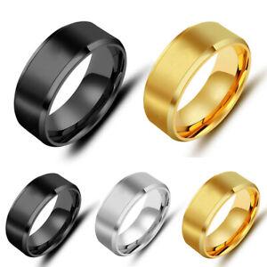 Men 8MM Stainless Steel Black Ring Band Titanium Size 6 to 13 Wedding Ring Gift