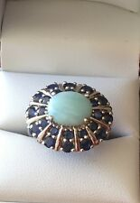 Estate S/S Oval Larimar Center Stone w a Double Halo of Sapphires...Size 9 Ring