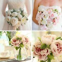 Bouquet 5 Heads Silk Flowers Home Wedding Decor 1 Bouquet Peony Flower