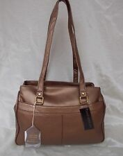 New Women's Ohh Ashley Lambskin Leather Large Triple Compartment Handbag Bronze