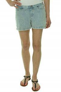 Hue Shorts Sz M Chambray Blue White Striped Pinstripe Jean Cotton U13825