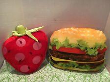 Hamburger And Strawberry Shaped Pillows Set
