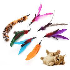 GC- CA Pet Cats Kitten Feather Teaser Play Stick Replacement Heads Scratch Toy 7