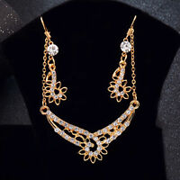 Fashion Women's Gold Plated Wedding Jewelery Sets Flower Earrings Necklace Gift