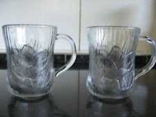 2 Vintage Clear Glass Cups with Raised Floral (Croci) Decoration