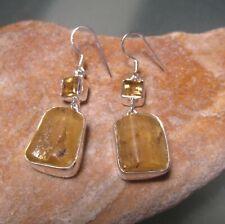 Sterling silver cut citrine & natural amber drop earrings. Gift bag.