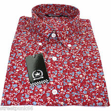 Relco Floral Shirt - Flrl2 - Red - 60s Button Down Collar Mod Skin 100 Cotton XL
