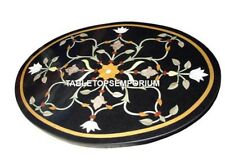"""24"""" Black Marquetry Marble Coffee Corner Table Inlay Patio Kitchen Decor H4563"""