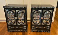 Pair Vtg Korean Black Lacquer Mother Of Pearl Inlay Jewelry Box Chest Cabinets