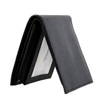 Genuine Leather Men's Bi fold Cowboy Slim Black Wallet Credit Card Coins Holder
