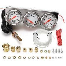 "Universal 2 5/8"" Chrome Oil Pressure Water Volt Triple 3 Gauge Set Meter Panel"