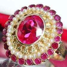 18k yellow gold size 9 ring 7.40ct ruby pearl 1920's antique handmade 9.8gr