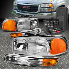 For 99-07 Gmc Sierra Yukon Xl Chrome Amber Corner Headlight Bumper Lamp+Tool Set (Fits: Gmc)