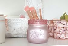 Painted Pearl Pink/Rose Gold Mason Jar with Rose Gold glitter rim