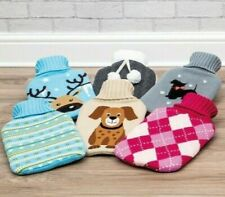 Large New 2 Litre Hot Water Bottle and Knitted Cover Gift Christmas
