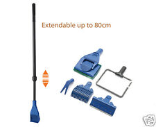 Aquarium 5in1 Extendable Cleaning Gravel Rake Algae Scraper Flant Fork Sponge