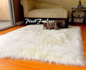 58 x 60 Ivory White Mongolian Plush Fur Rug Modern Rectangle Sheepskin Faux Fur