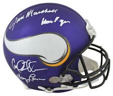Vikings Purple People Eaters (4) Signed Full Size Proline Helmet BAS Witnessed