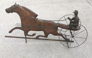 Copper Horse & Sulky Weathervane with Jockey