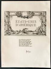 1926 - Lithographie USA - Etats unis : Poême Alan Seeger, poem