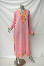 New ANYA HINDMARCH Handmade Pink Cotton Embroidered Long Sleeve Kaftan Dress L
