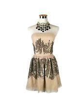 LUMIER BARIANO Dress - Strapless Tutu Blush Pink Gold Sequin Cocktail Club- 10/M