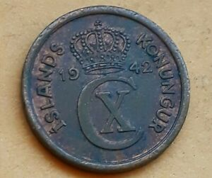 ICELAND 1942 ONE EYRIR 1 Cent WWII Coinage