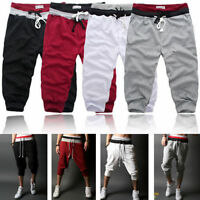 Men Casual Sports Capri Shorts Drawstring Baggy Pants Jogger 3/4 knee Trousers