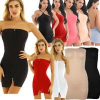 Women's Backless Zipper Tube Dress Bodycon Babydoll Nightgown Club Mini Dress
