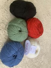Lot Of 5 Knit Picks Thin Yarn Lot White Blue Green Ted Black