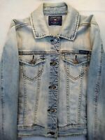 JUST USA Jean Jacket Womens Medium Faded Blue Denim Pockets Button Closures