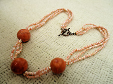 GENUINE GEMSTONE SALMON ANGEL SKIN CORAL NECKLACE HIGH END VTG ESTATE JEWELRY